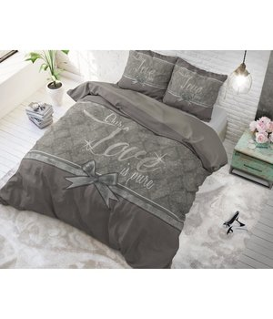 Dreamhouse Bedding dekbedovertrek ''Pure Love'' grijs met een grijs/antraciet strik
