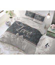 Dreamhouse Bedding dekbedovertrek ''Pure Love'' wit met grijs strik