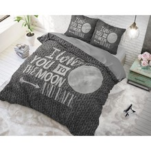 Dreamhouse Bedding dekbedovertrek ''To the moon and back'' knitwork grijs