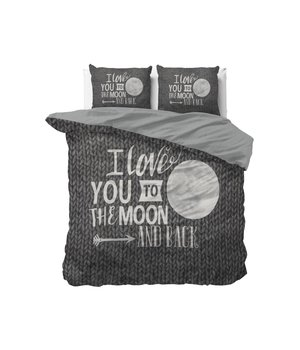 Dreamhouse Bedding dekbedovertrek ''To the moon and back'' knitwork grijs