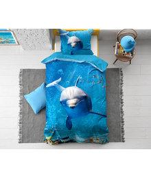 Dreamhouse Bedding Kids dekbedovertrek '' Blue Dolphin''