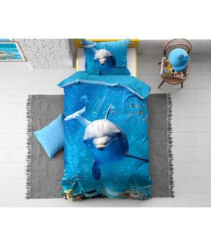 Dreamhouse Bedding Kids dekbedovertrek ''Blue Dolphin''
