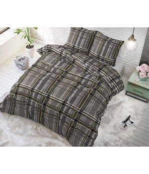 "Sleeptime Elegance Katoen dekbedovertrek taupe met gekleurde strepen ""Tartan bruin"""