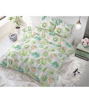 Sleeptime Elegance dekbedovertrek 'Cactus'' wit met planten