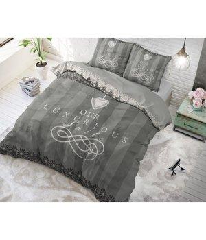 Dreamhouse Bedding katoen dekbedovertrek ''Luxury suite'' grijs met zwarte tekst