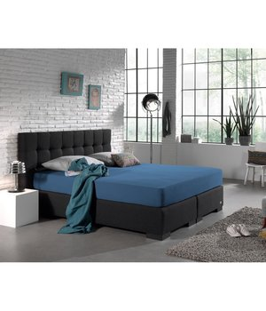 HomeCare Dubbel Jersey dubbel jersey Hoeslaken eenpersoons Blauw  80/90 x 200/220 + 40 cm hoog /hoek