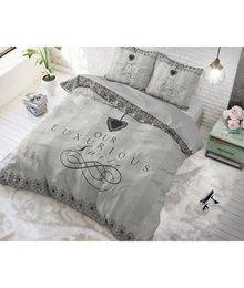 Dreamhouse Bedding katoen dekbedovertrek ''Luxury Suite'' wit met zwarte tekst