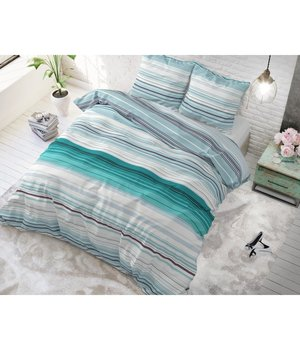 Sleeptime Elegance Gestreept dekbedovertrek ''Benny'' turquoise