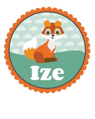 Muursticker vos oranje met naam