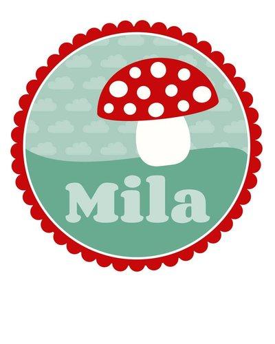 Muursticker paddenstoel met rand en naam