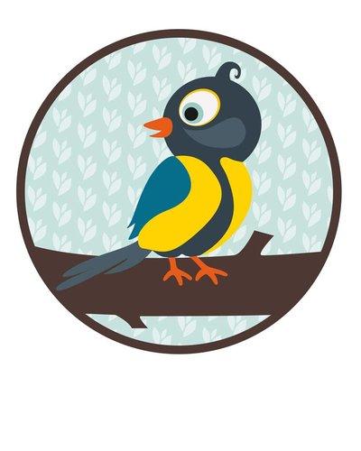 Muursticker vogel blauw