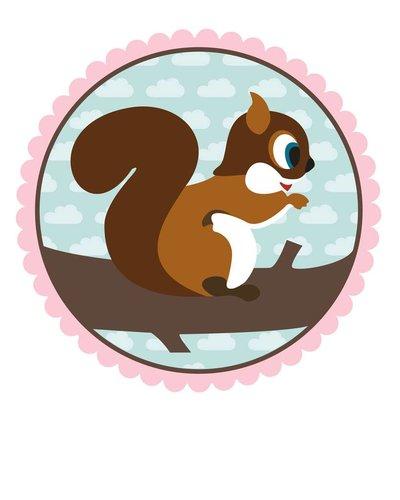 Muursticker eekhoorn roze