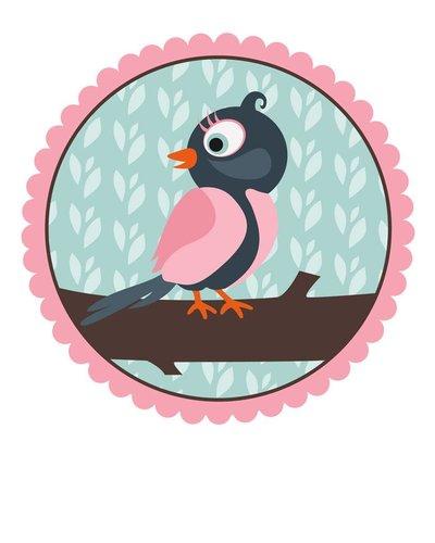 Muursticker vogel roze