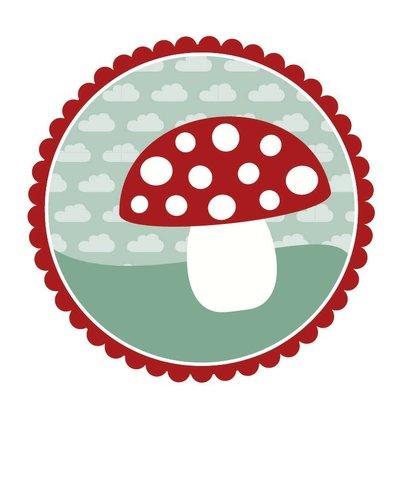Muursticker paddenstoel met rand