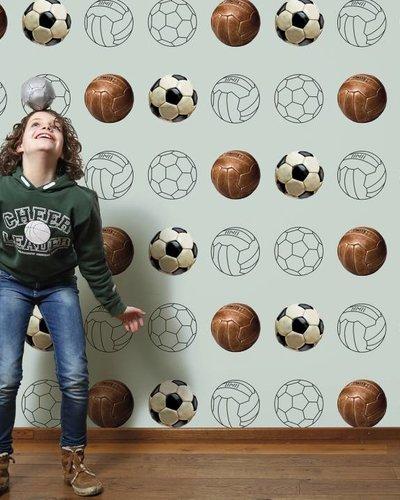 Behang voetbal groen