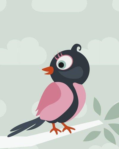 Behang boom en roze vogel groen