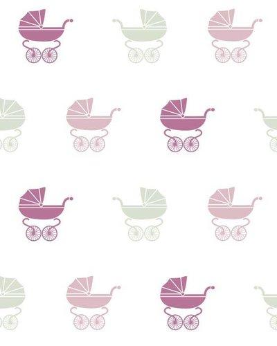 Behang wandelwagen groen roze