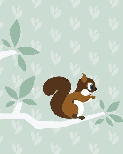 Behang boom en eekhoorn groen