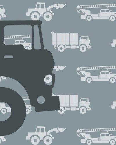 Behangpaneel auto's met vrachtwagen grijs