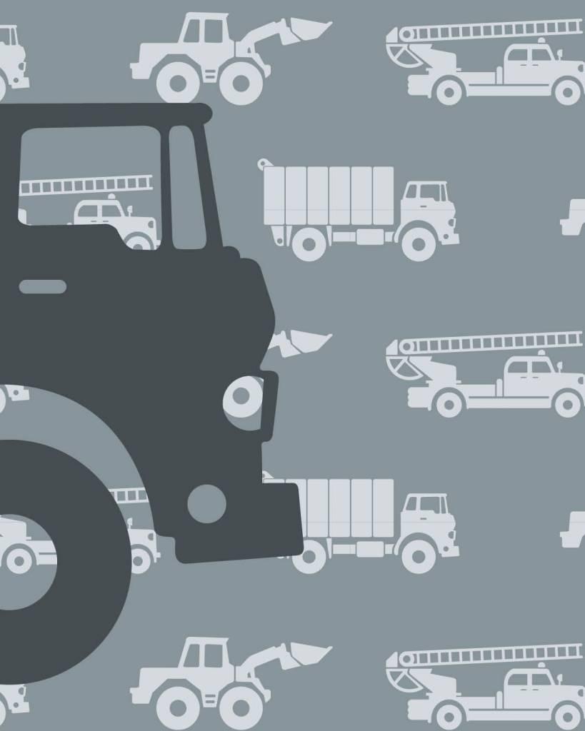 Kinderbehang Met Autos.Behangpaneel Auto S Met Vrachtwagen Grijs Tinkle Cherry