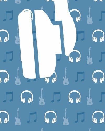Behangpaneel muziek met gitaar en koptelefoon blauw