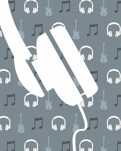 Behangpaneel muziek met gitaar en koptelefoon grijs