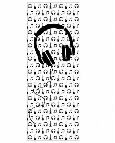 Behangpaneel muziek met gitaar en koptelefoon zwart wit