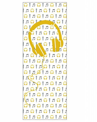 Behangpaneel muziek met microfoon en koptelefoon geel wit