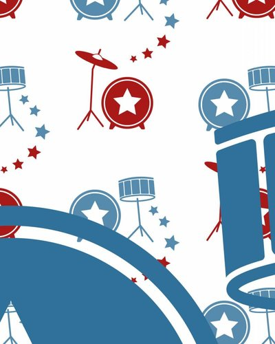 Behangpaneel muziek met drumstel rood blauw
