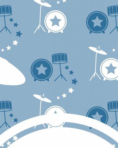 Behangpaneel muziek met drumstel blauw