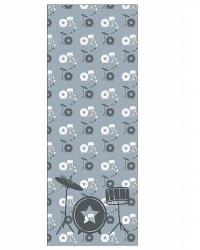 Behangpaneel muziek met drumstel grijs