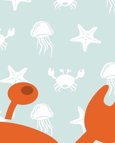 Behang paneel zeedieren met krab blauw