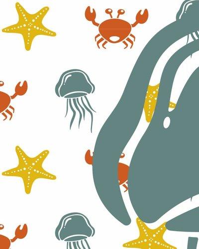 Behang zeedieren met kwal geel groen