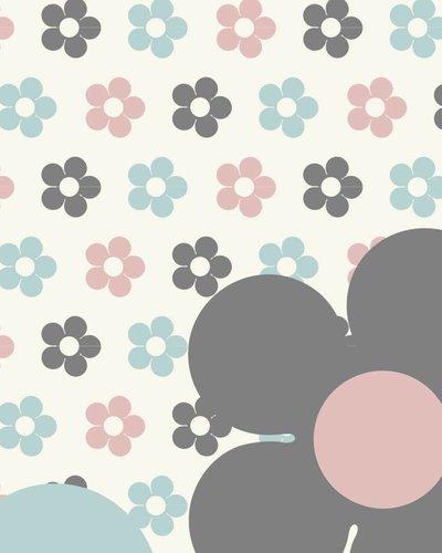 Behang bloemen roze blauw roze