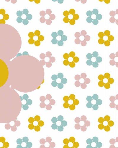 Behang bloemen geel roze