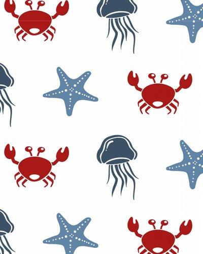 Behang zeedieren met kwal rood blauw