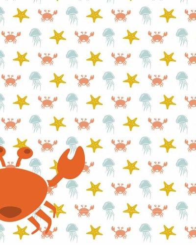 Behang zeedieren met krab oranje geel