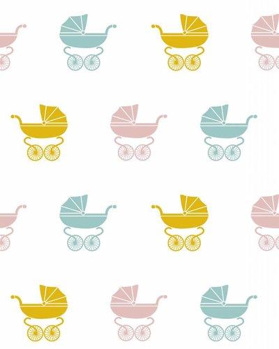 Behang wandelwagen geel roze