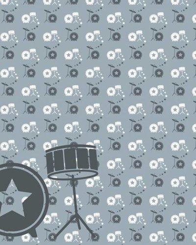Behang muziek met drumstel grijs