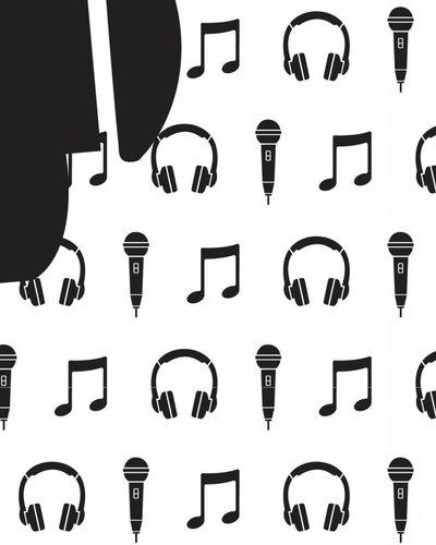 Behang muziek met microfoon en koptelefoon zwart wit