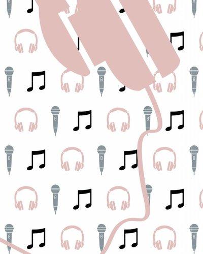 Behang muziek met microfoon en koptelefoon roze