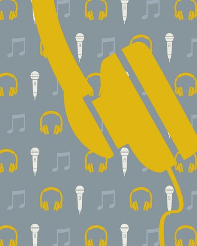 Behang muziek met microfoon en koptelefoon geel grijs