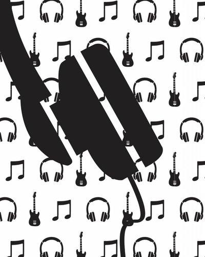 Behang muziek met gitaar en koptelefoon zwart wit