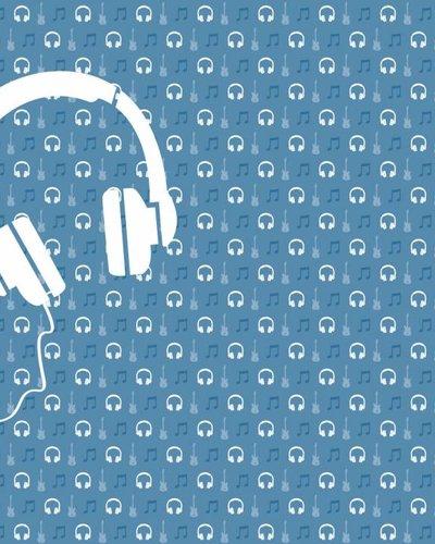 Behang muziek met gitaar en koptelefoon blauw