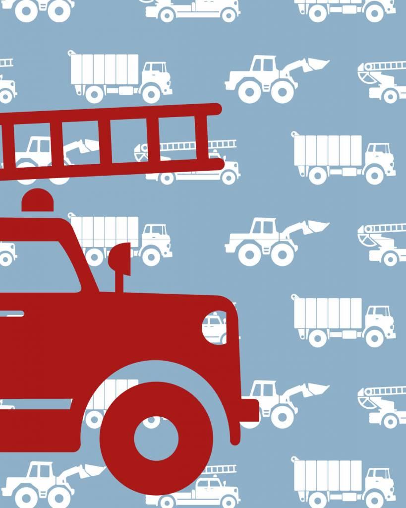 Kinderbehang Met Autos.Behang Auto S Met Brandweer Blauw Tinkle Cherry