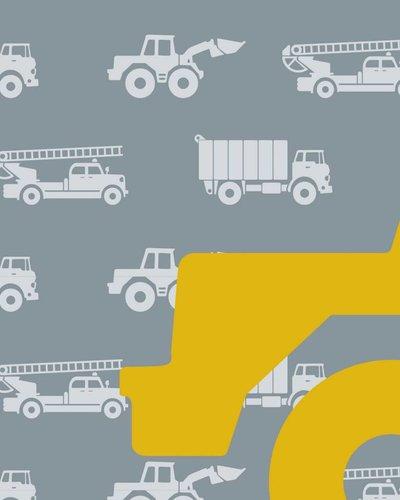 Behang auto's met graafmachine grijs