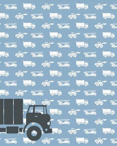 Behang auto's met vrachtwagen blauw