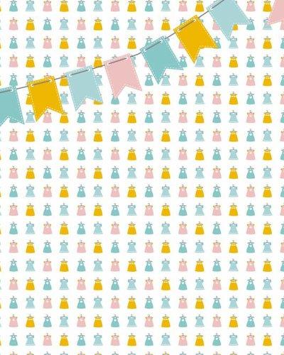 Behang jurkjes met vlaggenlijn roze geel