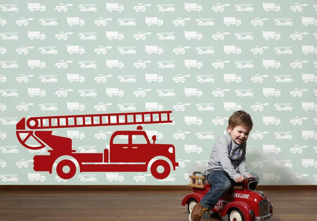 Kinderbehang Met Autos.Behang Auto S Met Brandweer Groen Tinkle Cherry