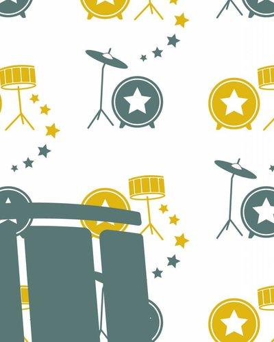 Behang muziek met drumstel geel groen